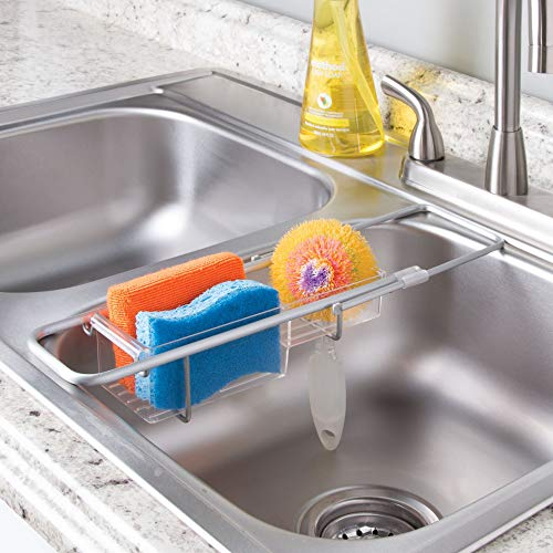 mDesign Modern Expandable Adjustable Over-Sink Storage Center - Kitchen Organizing Caddy - Holder for Sponges, Scrubbers, Dish Wands, Vegetable Brushes, Soap - Rustproof Aluminum - Brushed/Clear