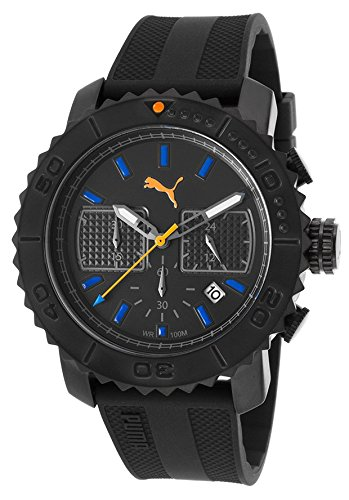 Puma Pu103561003 Men's Chronograph Black Textured Rubber, Dial And Case Watch