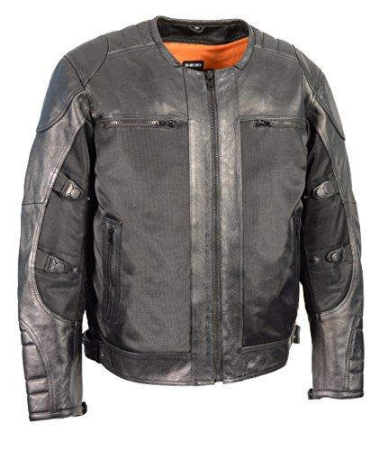 Milwaukee Performance Men's Mesh/Leather Combo Scooter Sports Jacket (Black, X-Large)