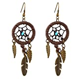 Wax Line Dreamcatcher Leaf Pendant Dangle Earings Hook Eardrop Jewelry for Women Girls Lady,Bronze Dark Brown
