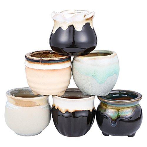 2.5 Inch Ceramic Planters,Flowing Glaze Succulent Planters Cactus Flower Plant Pot/Container Mini Succulent Plant Pots Black White Base Serial 6pcs in Set by Jomass (Image #5)