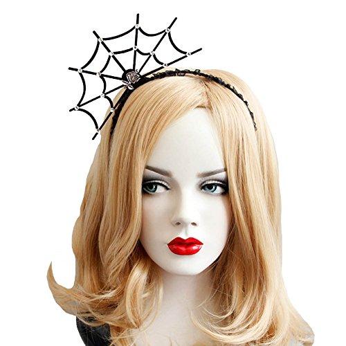 Halloween Cosplay Spider Hair Hoop-New Trendy Spiders Web Headband Headdress Hallowmas Party Gift Urchart (Black #2) -