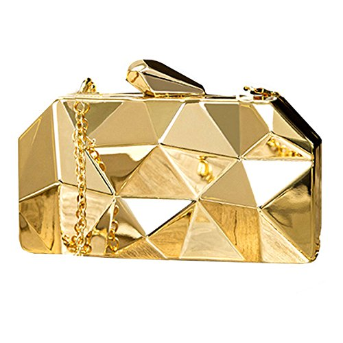 Goodbag Boutique Women Lattice Pattern Metal Handbag Chain Geometric Evening Clutch