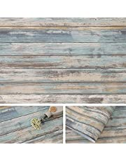 Blue Rustic Wood Paper 17''x120'' Self-Adhesive Removable Wood Peel and Stick Wallpaper Vinyl Decorative Wood Plank Film Vintage Wall Covering for Furniture Surfaces Easy to Clean Wooden Grain Paper
