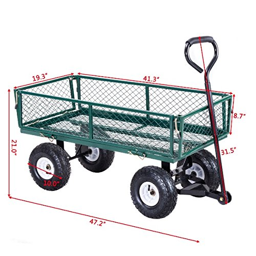 Rolling Garden Utility Cart Wagon Buggy Wheelbarrow Gardening Planting Outdoor Patio Lawn Tools Transport Trailer Foldable Frame Design HeavyDuty Steel Frame Cushioned Grip Handle Corrosion Resistance