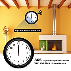 Fuvision Wireless Network Hidden Camera WiFi Black 10inch Wall Clock 1080P FHD Live View 365 Days Battery Power Remote Internet Access by Apps WiFi IP Spy Camera for Home Security and Surveillance