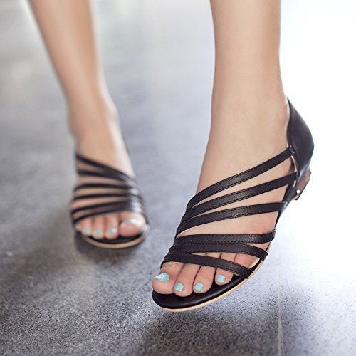 Decoupee Talon Noir Ete Femme Laniere en Sandales Chaussure OCHENTA PU Mini qU70T4