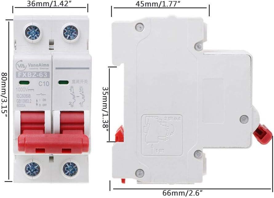 JOYKK Mini disjoncteur Solaire 2P DC 1000V 10A DC MCB photovolta/ïque Blanc