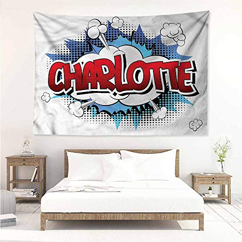 Sunnyhome Large Wall Tapestry,Charlotte Female Name Cartoon,Home Decorations for Bedroom Dorm Decor,W84x54L - Light Celtic Dragons Name