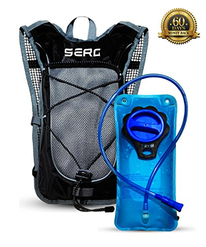 SERG Unisex Sport Hydration Backpack With 2L TPU Leak Proof Water Bladder. Extremely Light Weight, Adjustable Padded Shoulder, Chest & Waist Straps, Great for Running Hiking Cycling Skiing.