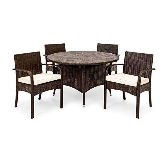 Best Choice Products 5-Piece Indoor Outdoor Patio Wicker Dining Set Furniture w/Round Table, 4 Chairs, Cushions - STYLISH AND ELEGANT: Made with durable, weather-resistant wicker, this dining set compliments any backyard space WEATHER RESISTANT: Wicker and polyester cushions offer protection against inclement weather and outdoor elements BUILT TO LAST: The aluminum frames for the table and chairs are sturdy and long-lasting, ensuring that you can enjoy this set for years to come - patio-furniture, dining-sets-patio-funiture, patio - 51igLML7olL. SS570  -