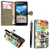 Huawei Y6 Case, Kamal Star® Premium PU Leather Magnetic Case Cover with ATM card and Note slots + Free Stylus (Design 01 Multi Owl Book)