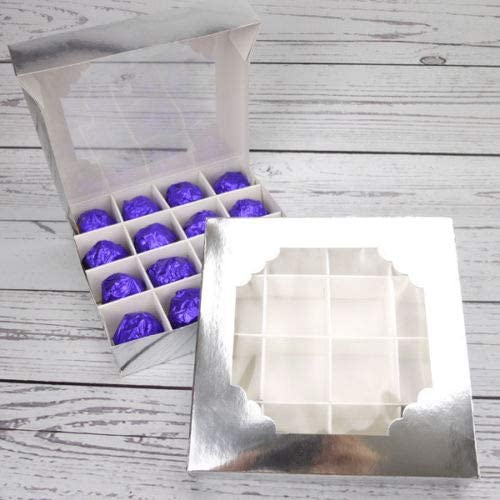 Flyinghedwig 10x Sweet Box Pick and Mix Empty Window Christmas Packaging Celebration Chocolate Tray Boxes Gold