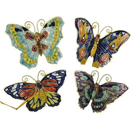 Home and Holiday Shops Aqua Butterflies Cloisonne Metal Christmas Tree Ornaments Set of 4 Butterfly New