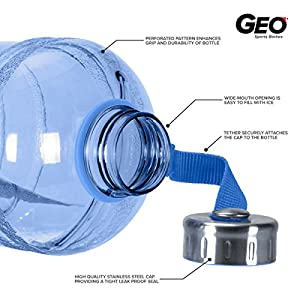 1/2 Gallon (64 oz.) BPA FREE Plastic Water Bottle w/ 48mm Steel Cap (Dark Blue)