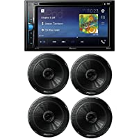 Pioneer Double Din DVD/MP3/CD Player 6.2 Touchscreen Bluetooth W/ Pioneer TS-G1645R 250W 6.5 2-Way G-Series Coaxial Car Speakers (2Pairs)