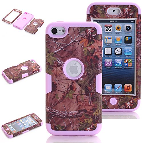 iPod Touch 5th Generation Case Camo, iPod Touch 6th Generation Case, Vodico 3 in 1 Defender Hybrid Tough Armor Shockproof Protective Tree Camo Case with Realtree Camouflage Design Cover (Purple) (Purple Camo Cases For Ipod 5)
