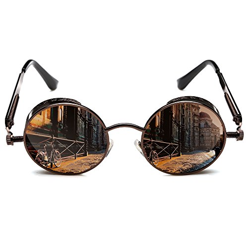 ROCKNIGHT Round Polarized Sunglasses Gothic Steampunk Brown Unisex Sunglasses
