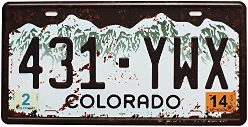 Shinewe 431 YWX Colorado - Placa de matrícula de Metal (15 x 30 cm), diseño Vintage: Amazon.es: Hogar