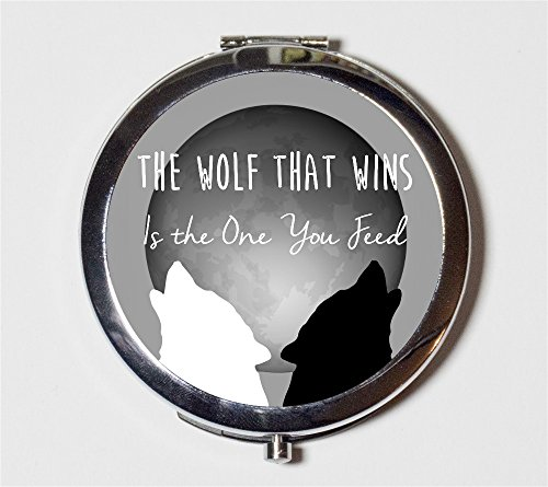 The Wolf that Wins is the One You Feed Compact Mirror Native American Saying Spirituality Pocket Mirror Cosmetics by Fringe Pop