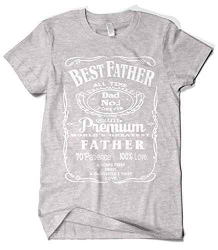 (Cybertela Men's Best Father Premium Dad World's Greatest No.1 T-Shirt (Light Gray, 2X-Large))