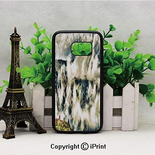 Fairy Landscape Illustration with House Among Clouds Greenery Trees Highland Samsung Galaxy S7 Case with Artistic Black Soft TPU and PC Protection Anti-Slippery Case for Samsung S7 Green Beige ()