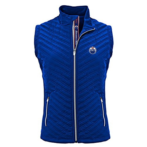 - Levelwear NHL Women's Transition Edmonton Oilers Hockey Team Script Vest, Royal Blue - Small