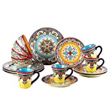 Euro Ceramica Zanzibar 16 Piece Dinnerware Set, Multicolor