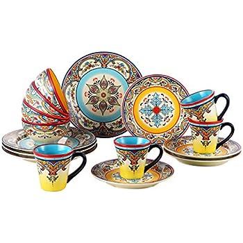 Euro Ceramica Zanzibar Collection Vibrant 16 Piece Ceramic Dinnerware Set Service for 4 Spanish  sc 1 st  Amazon.com & Amazon.com | Euro Ceramica Zanzibar Collection Vibrant 16 Piece ...
