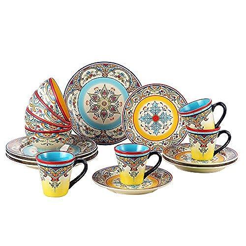 Euro Ceramica Zanzibar Collection Vibrant 16 Piece Ceramic Dinnerware Set Service for 4 Spanish Floral Design Multicolor  sc 1 st  Amazon.com & Fine Dining Dinnerware Set: Amazon.com