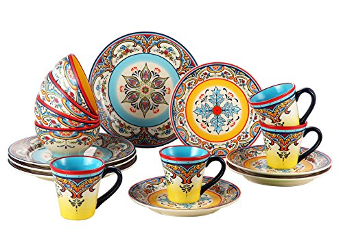 Euro Ceramica Zanzibar Collection Vibrant 16 Piece Ceramic Dinnerware Set, Service for 4, Spanish Floral Design, Multicolor