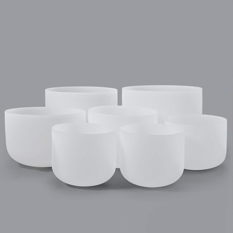 432HZ Set of 7 PCS 7-13 Perfect Pitch Quartz Crystal Singing Bowls