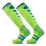 Long Tube Sports Socks, SocksDaze Mens Bright Colour Functional Running Knee High Socks Green Pink Yellow size 10-13, 1 Pair