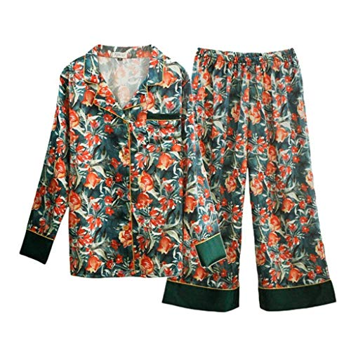 As Fashion Shown Pijamas Pecho Mujer Otoño Para cuello Un Solo De Primavera Floreadas Elegantes Pijama Larga V El Ropa Moda Hogar Conjunto Manga Pantalones Dormir w0TwSgq