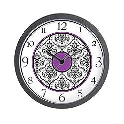 CafePress - Purple Black White Damask Elegant Clock - Unique Decorative 10 Wall Clock