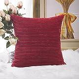 "Home Brilliant Super Soft Striped Corduroy Throw Pillow Sham Cushion Cover for Living Room, 26"" x 26"" (66cm), Dark Red"