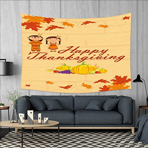 smallbeefly Kids Thanksgiving Tapestry Table Cover Bedspread Beach Towel Children in Native American Costume Preserving Indigenous Heritage Dorm Decor 71