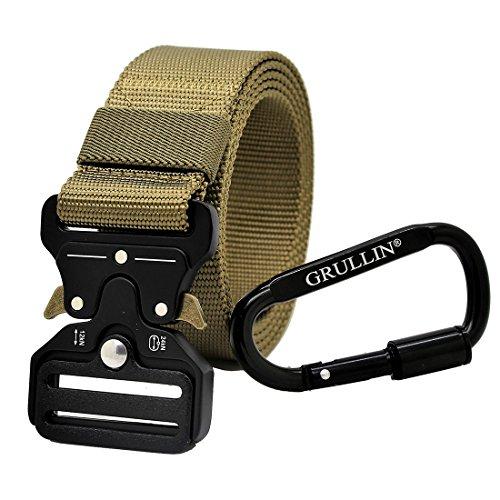 GRULLIN Tactical Nylon Belt, Heavy Duty EDC Waist Belt Operator MOLLE Riggers Clip Belt(2018Tan)