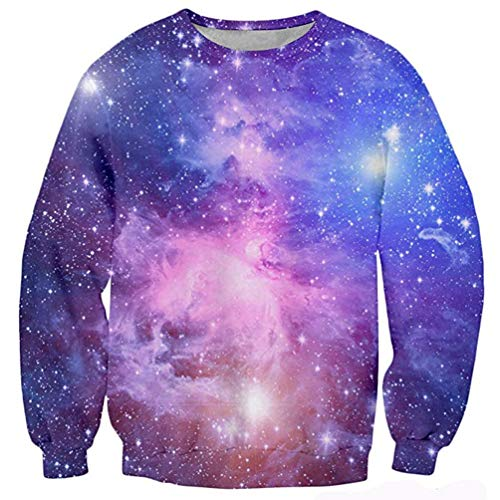 RAISEVERN Unisex 3d Galaxy Print Long Sleeve Crew Neck Pullover Sweater Sweatshirt, Galaxy Nebula, Small