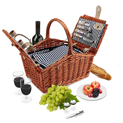 Wicker Picnic Basket Set | 2 Person Deluxe Double Lid Style Woven Willow Picnic Hamper | Built-in Cooler | Ceramic Plates, Stainless Steel Silverware, Wine Glasses, S/P Shakers, Bottle Opener (Brown)