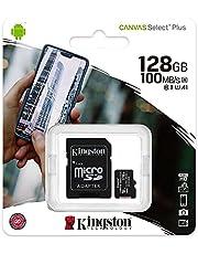 بطاقة ذاكرة ميكرو اس دي مع محول كانفاس سيلكت بلس من كينجستون micSDXC - 128 جيجابايت