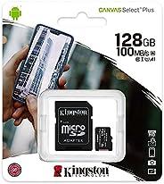 Kingston MicroSDXC Select Plus 128GB (Con Adaptador a SD) Clase 10, UHS-I, U1, V10 Lectura: 100MB/s (SDCS2/128