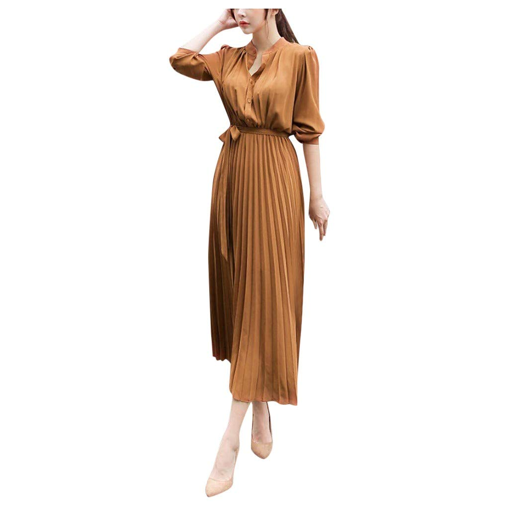 FEDULK Womens Casual Dress Beam Waist Long Sleeve V-Neck Plain Swing Elegant Pleated Dress with Belt(Khaki, Large) by FEDULK