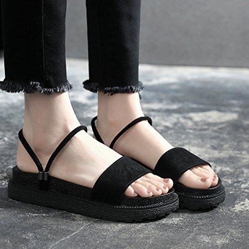 YMFIE Sandalias Planas de la Sra. Summer Casual Fashion Flat Toe Sandalias de Playa black