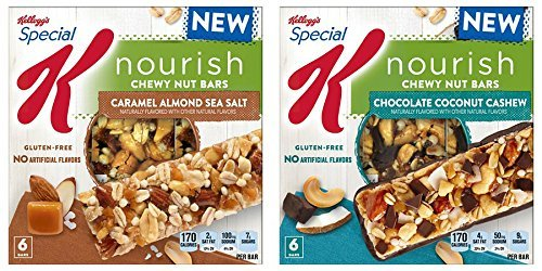 Special K Nourish Caramel Almond Sea Salt & Chocolate Coconut Cashew Chewy Nut Bars (PACK OF 2)