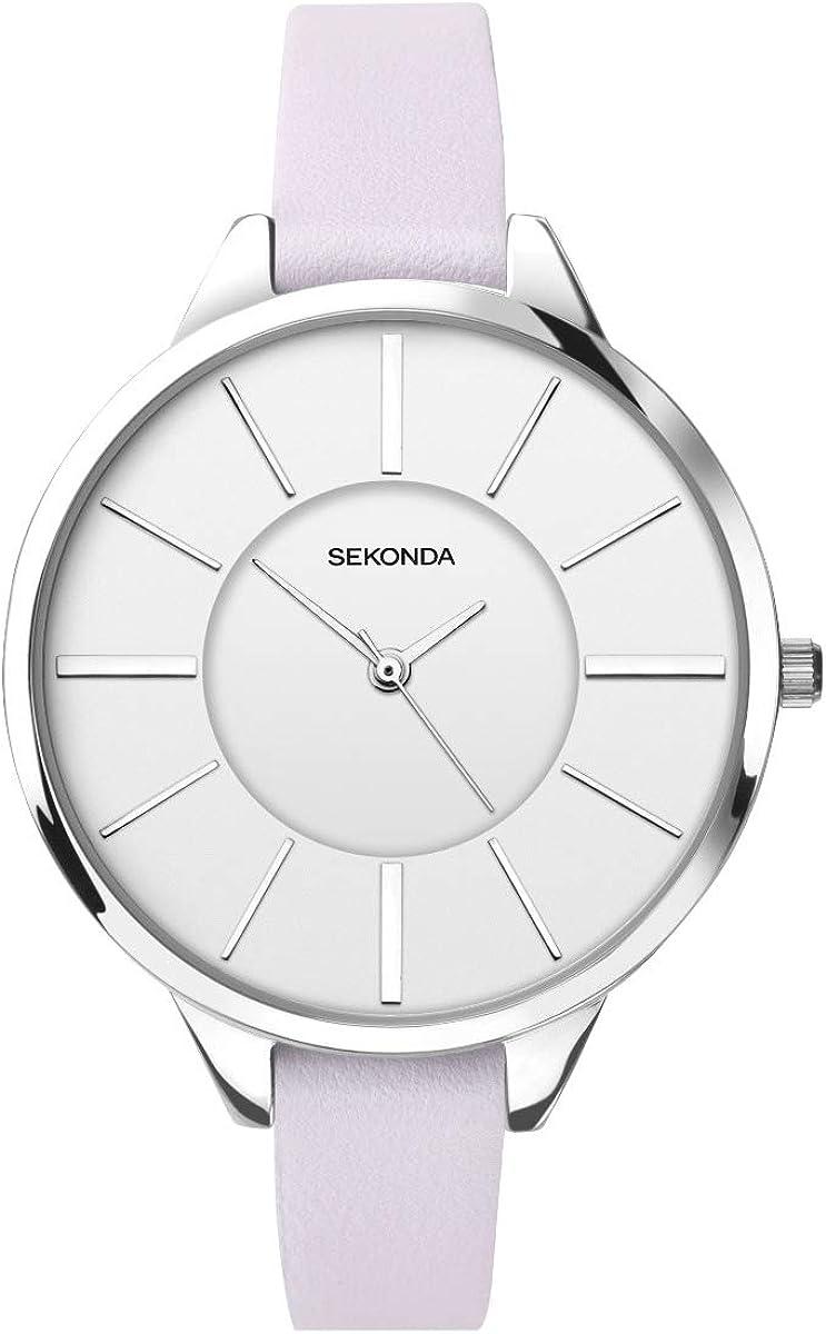 Sekonda Editions 2975 - Reloj de Pulsera para Mujer (Esfera Blanca y Correa de Piel de Color Lila)