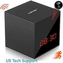 LIZVIE Hidden Spy Cube Clock Nanny Camera with Enhanced Night Vision, Motion Detection, Invisible Lens, Video Recorder, 12&24 Hour Alarm Clock(Base Version)