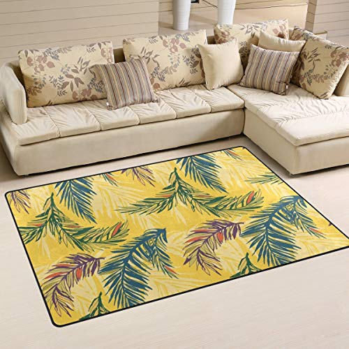 Fantasy Star Play Mat for Kids - Super Soft Modern Tropical Palm Leaves Area Rugs Living Room Carpet Bedroom Rug for Children Play Floor Rug and Carpets - Baby Mats for Playing/Crawling - 3' x 5'