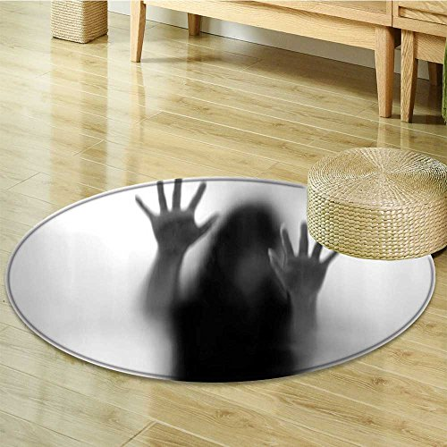 Round Rugs for Bedroom Silhouette of Woman behind the Veil Scared to Death Obscured Paranormal Gray Circle Rugs for Living Room-Round 59'' by Liprinthome