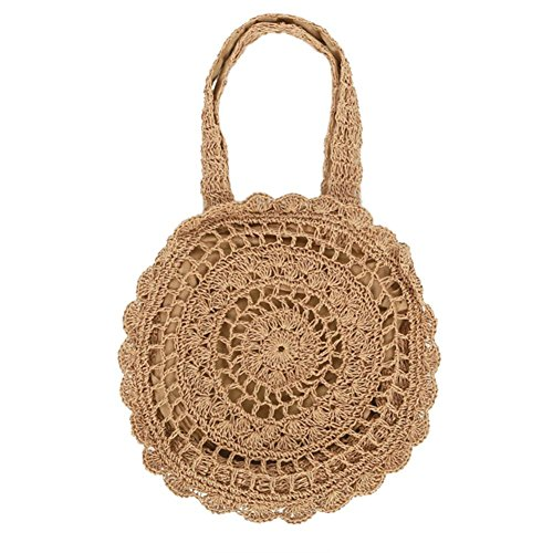 Summer Women Round Beach Straw Handbag Bag Hook, Storage Bag Woven Large Paper Flowers Hand Woven Bag Beach Bag